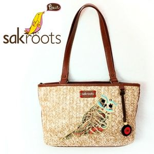 Sakroots Woven Embroidered Owl Boho Style Tote Bag